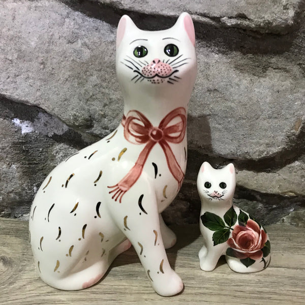Pink Gilt Bow Small Cat