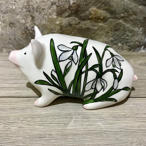 Snowdrop Stain Glass Small Pig