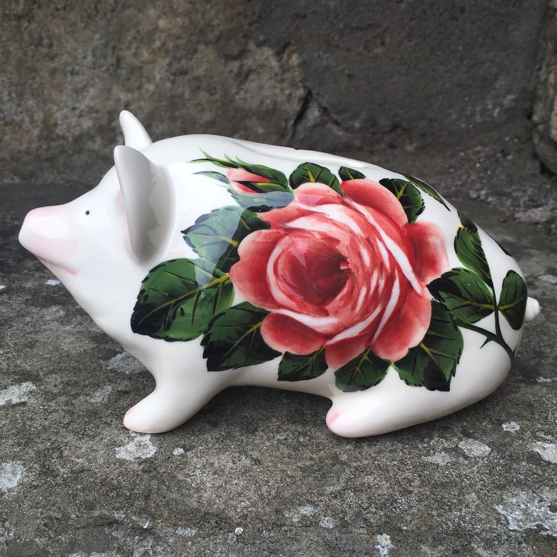 Cabbage Rose Small Piggy Bank