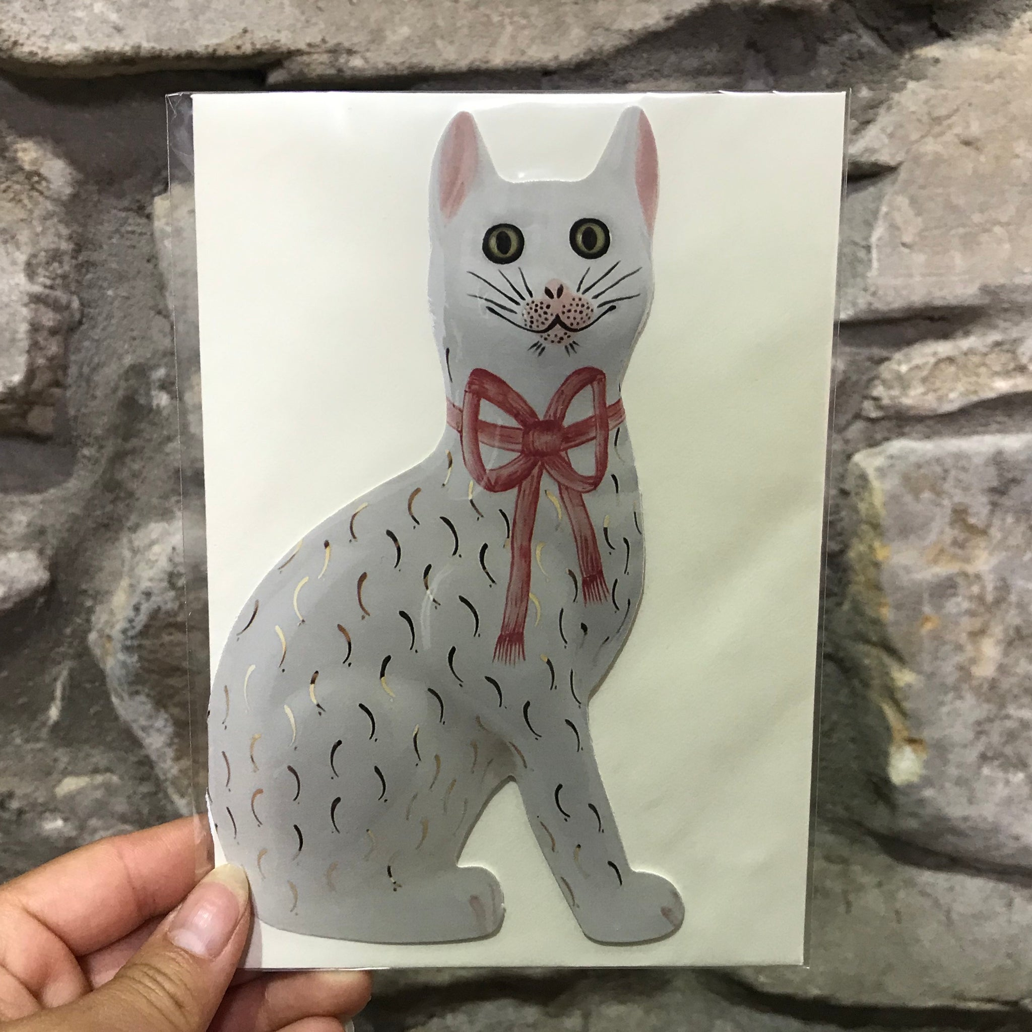 Pink Bow Gilt Cat Card