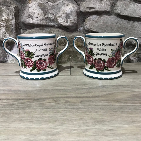 Esther Weeks Cabbage Rose, Forget Me Not and Thistle 2-Handled Loving Cup