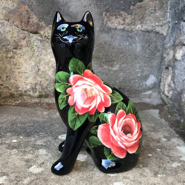 Cabbage Rose Black Small Cat