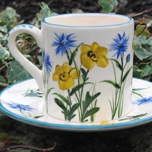 Buttercup and Cornflower Coffee Cup and Saucer