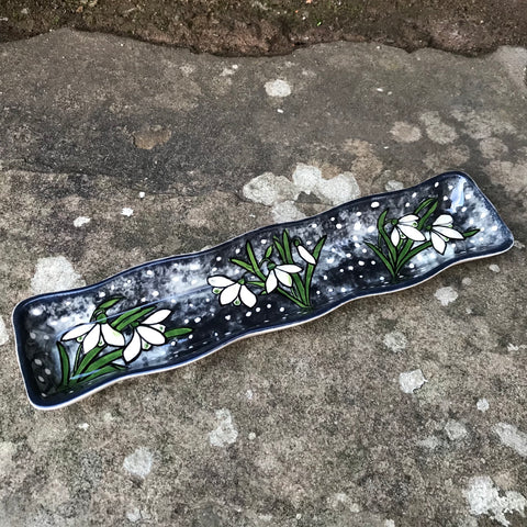 Christmas Snowdrop Fluted Tray