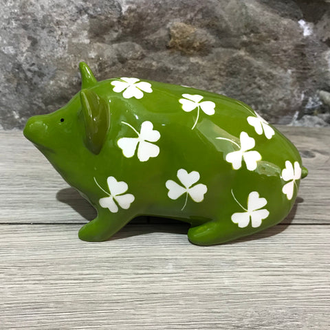 Shamrock Green Background Year of the Pig Exhibition Small Pig
