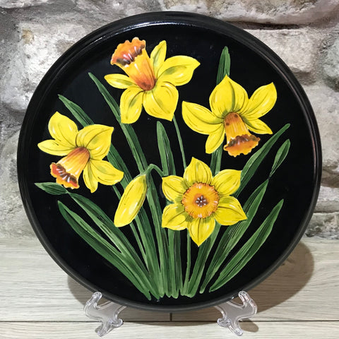 Daffodil Black Background Large Round Plaque