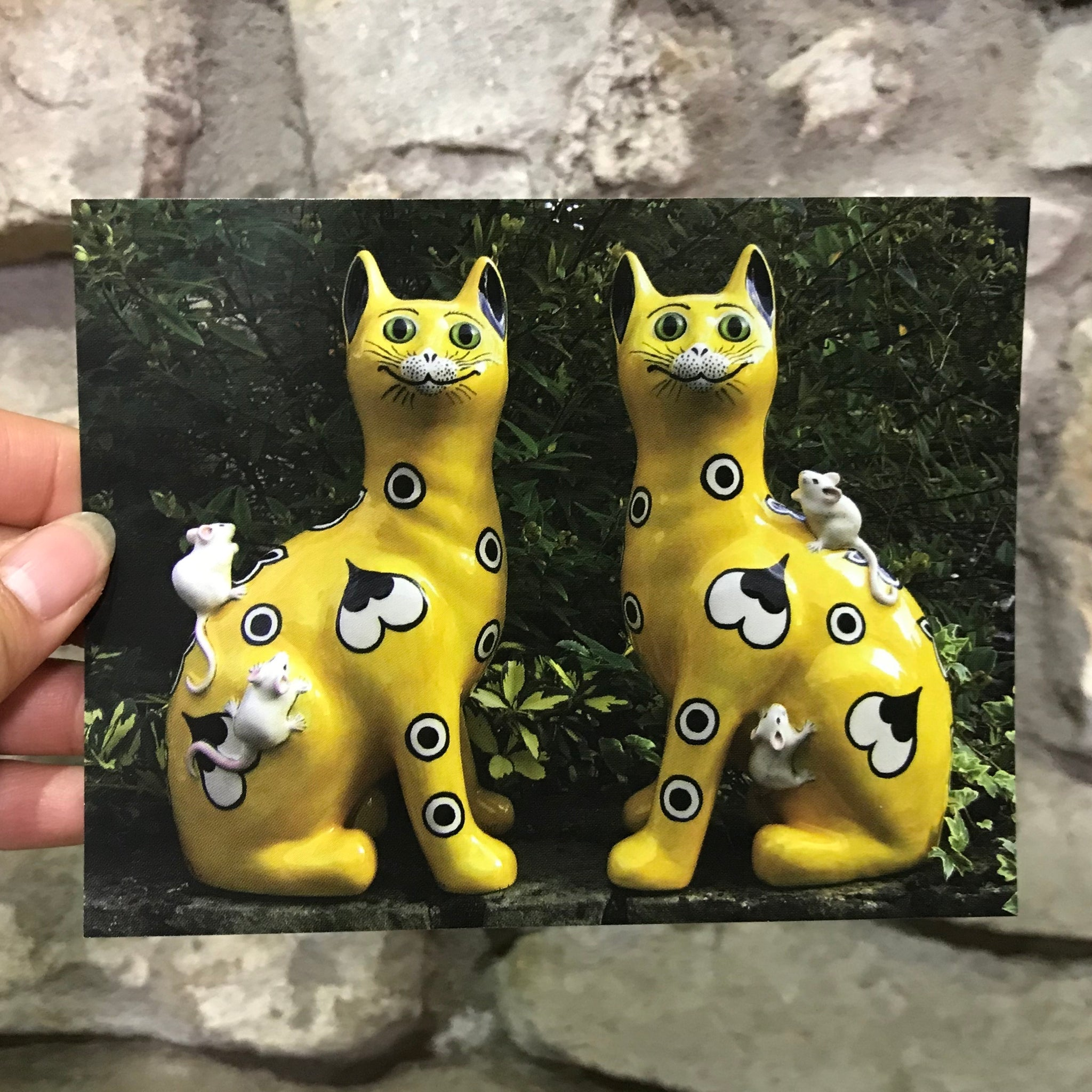 Yellow Gallé Cats with Mice Postcard