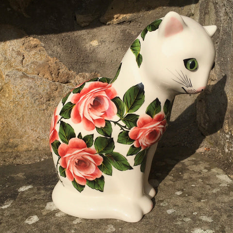 Cabbage Rose Medium Thinking Cat
