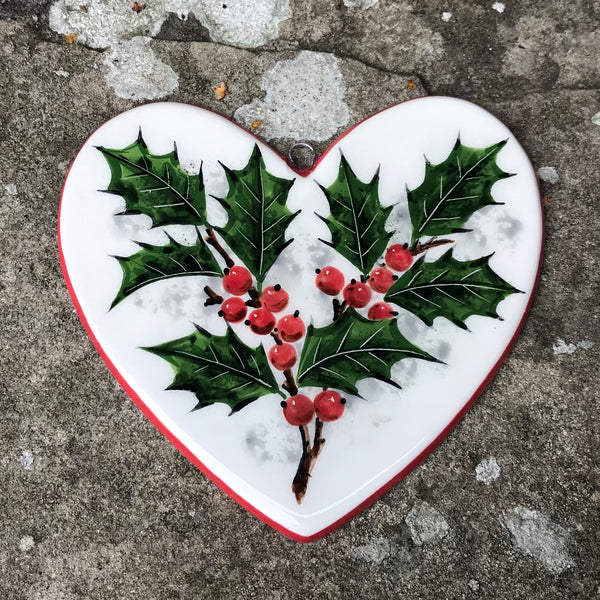 Holly Large Hanging Heart