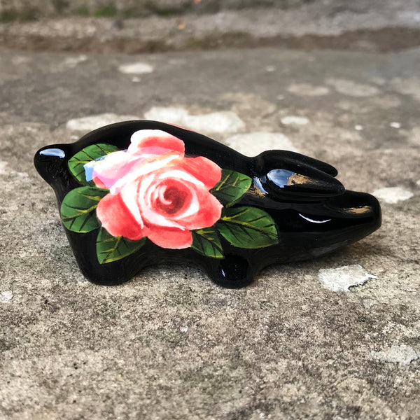 Cabbage Rose Black Tiny Pig