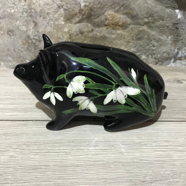 Snowdrop Black Background Small Piggy Bank