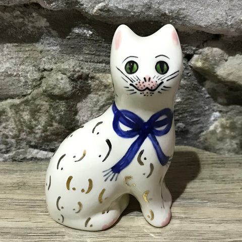 Blue Gilt Bow Tiny Cat