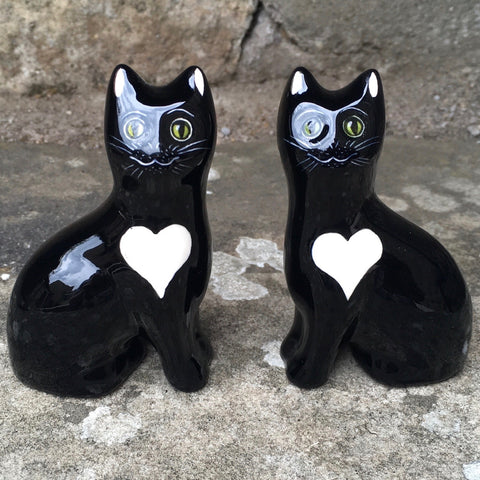 Black with White Heart Tiny Cat