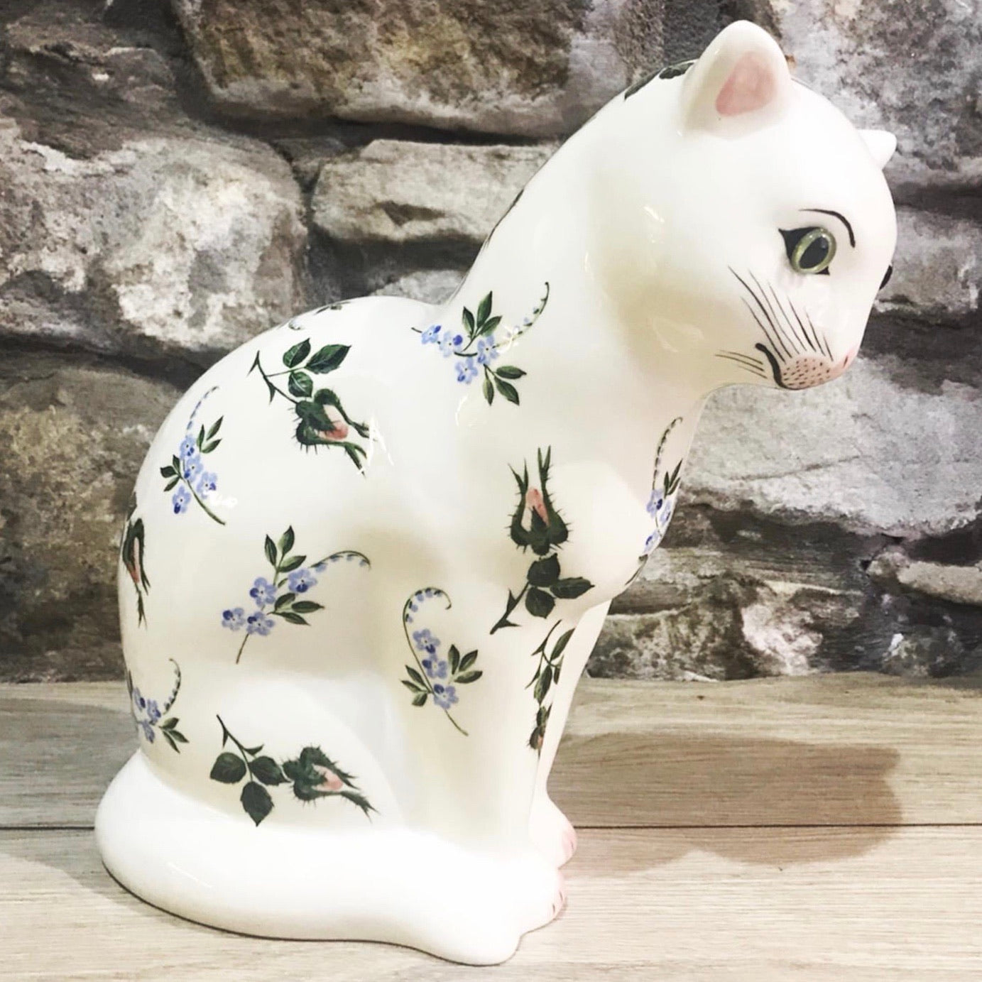 Forget Me Not and Rosebud Medium Thinking Cat