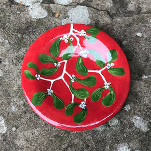 Mistletoe Red Tiny Plate
