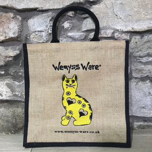 Yellow Gallé Cat Jute Bag
