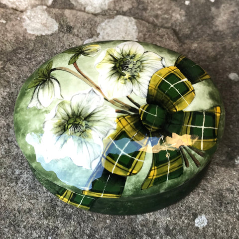Tartan Hellebore Small Oval Trinket Box