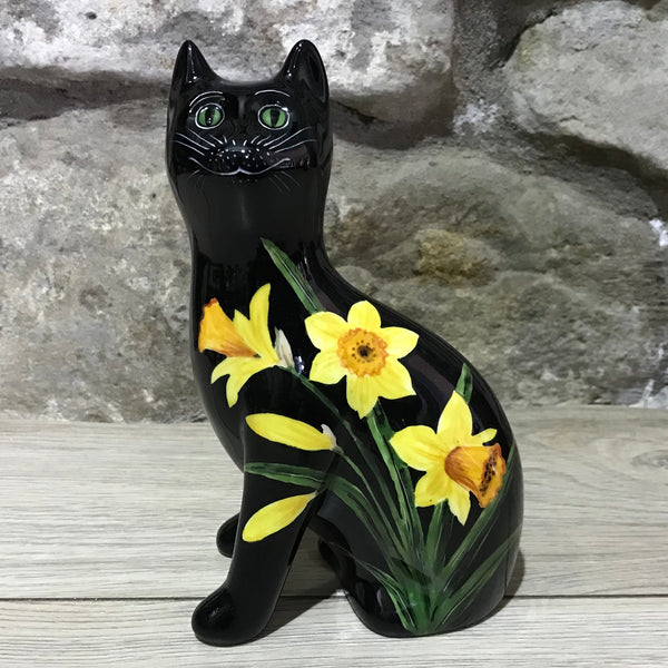 Daffodil Black Background Small Cat