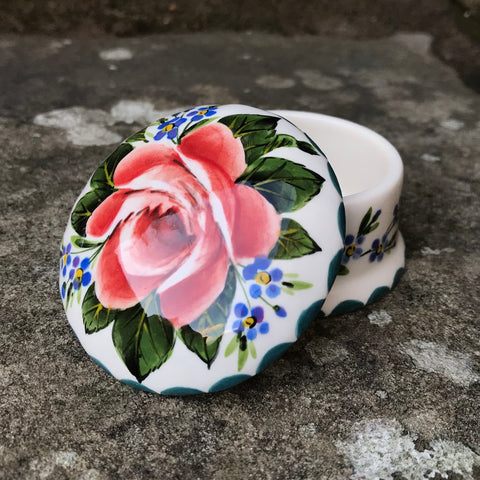 Cabbage Rose and Forget Me Not Scone Small Trinket Box