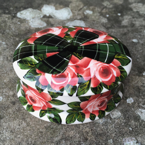 Cabbage Rose Tartan Bow Small Oval Trinket Box