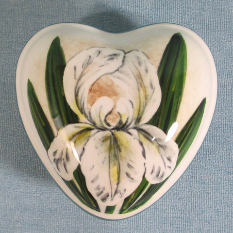 White Iris Small Heart Trinket Box
