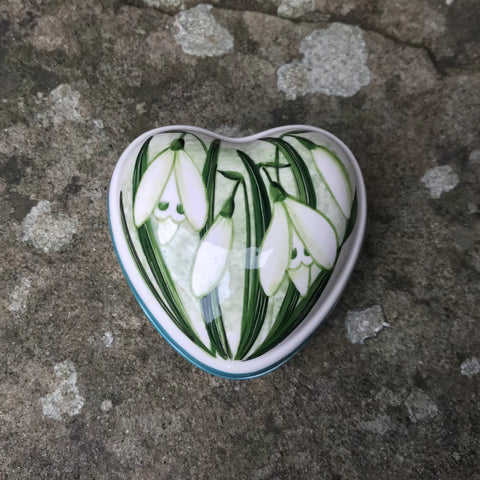 Snowdrop Small Heart Trinket Box
