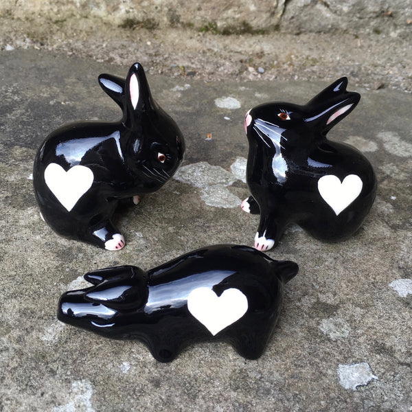 Black with White Heart Tiny Pig