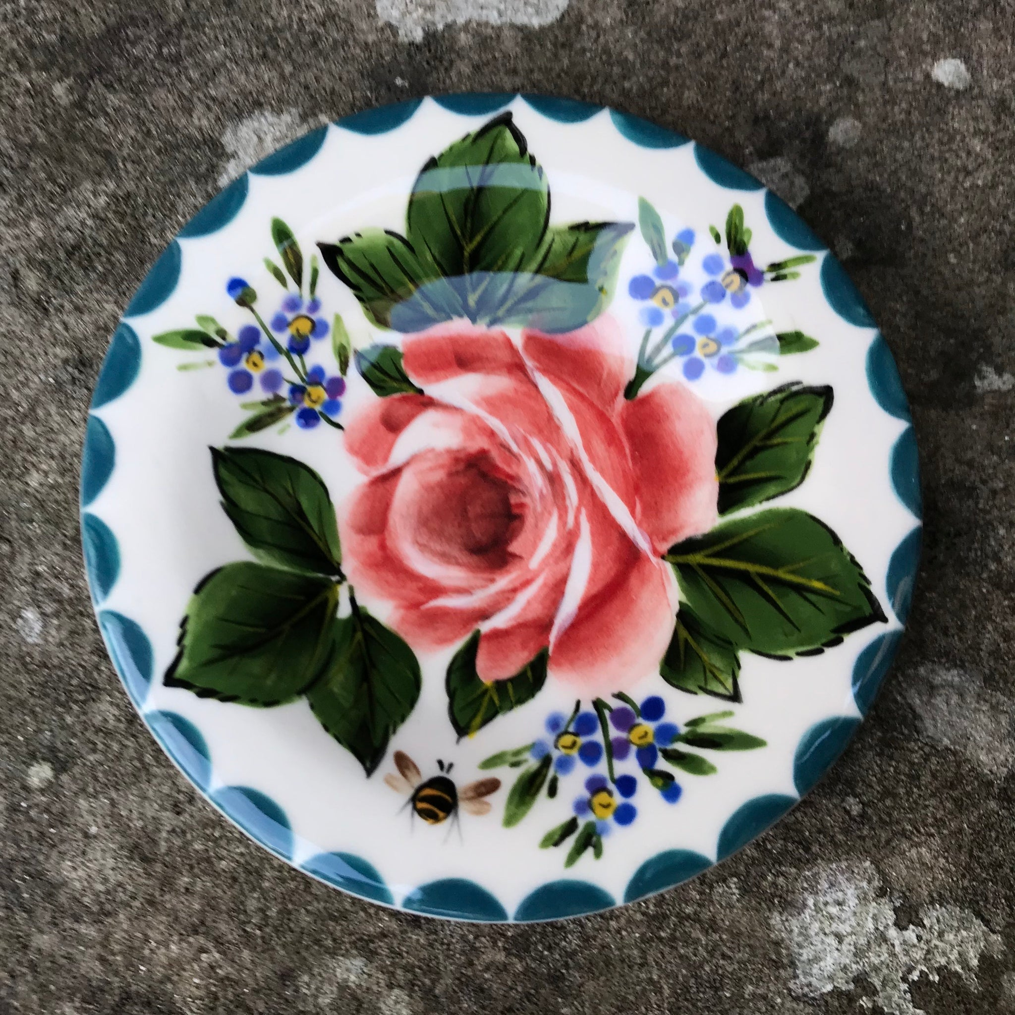 Cabbage Rose and Forget Me Not Tiny Plate