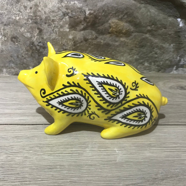 Limited Edition Yellow Paisley Small Pig