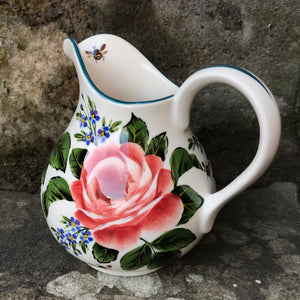 Cabbage Rose and Forget Me Not Small Round Jug