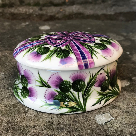 Tartan Thistle Small Oval Trinket Box