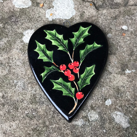 Holly Black Small Hanging Heart