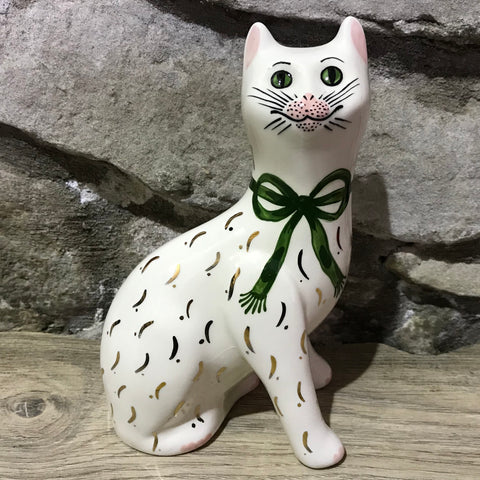 Green Gilt Bow Small Cat