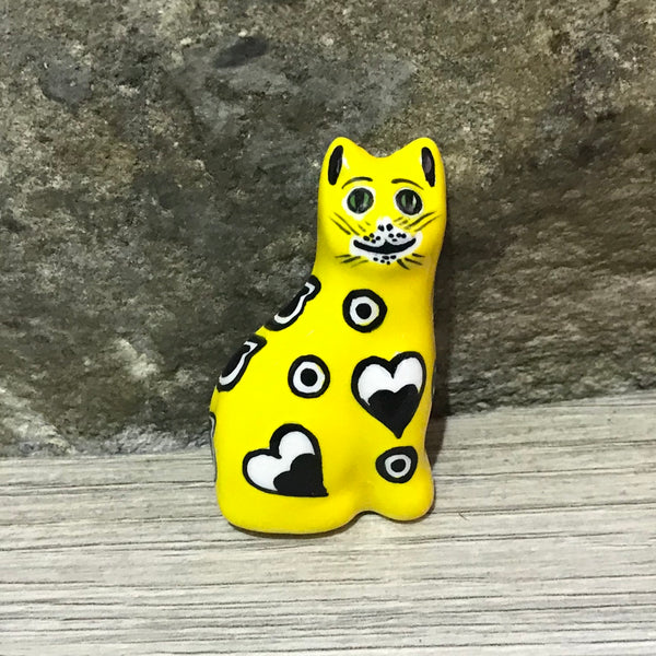 Yellow Gallé Cat Brooch