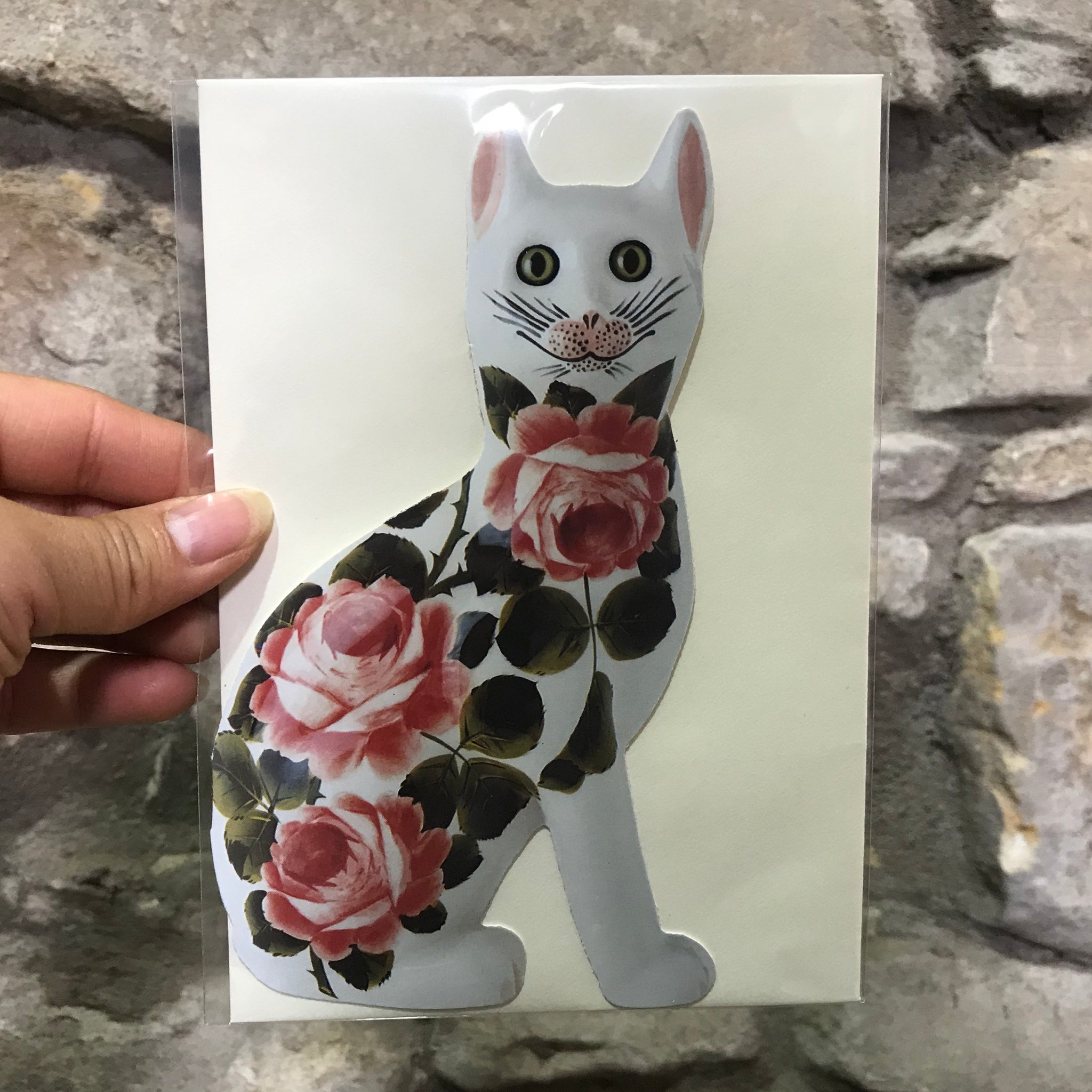 Cabbage Rose Cat Card