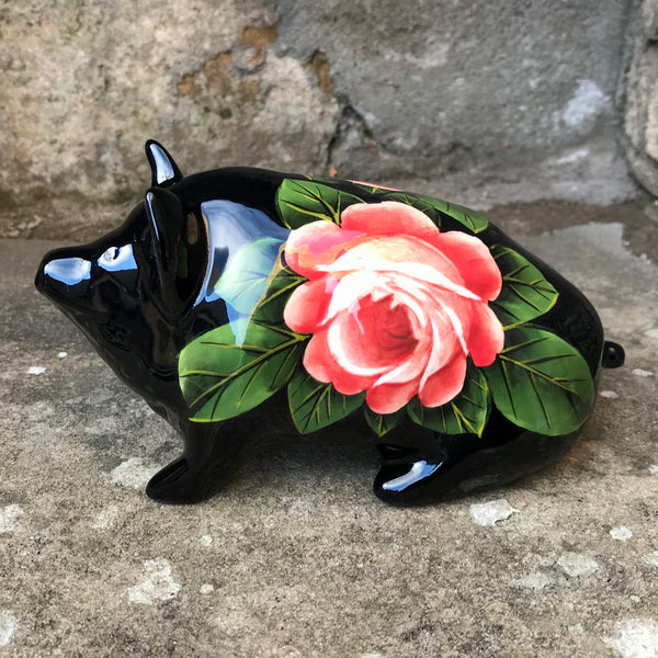 Cabbage Rose Black Small Pig