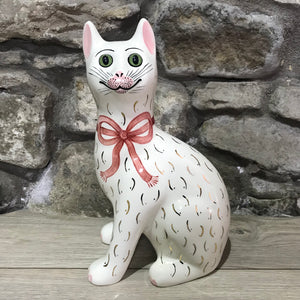 Pink Gilt Bow Large Cat