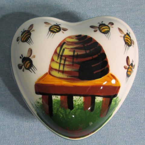 Beehive Small Heart Trinket Box