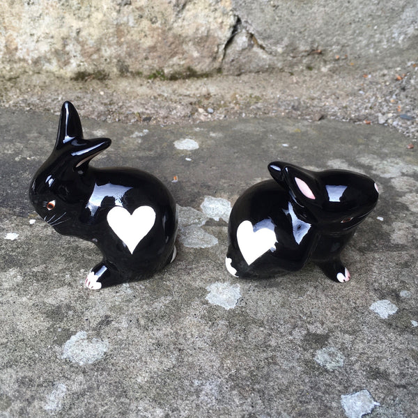 Black with White Heart Tiny Rabbit
