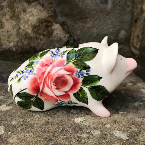 Cabbage Rose and Forget Me Not Small Pig