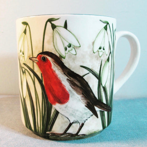 Robin and Snowdrop Small Mug