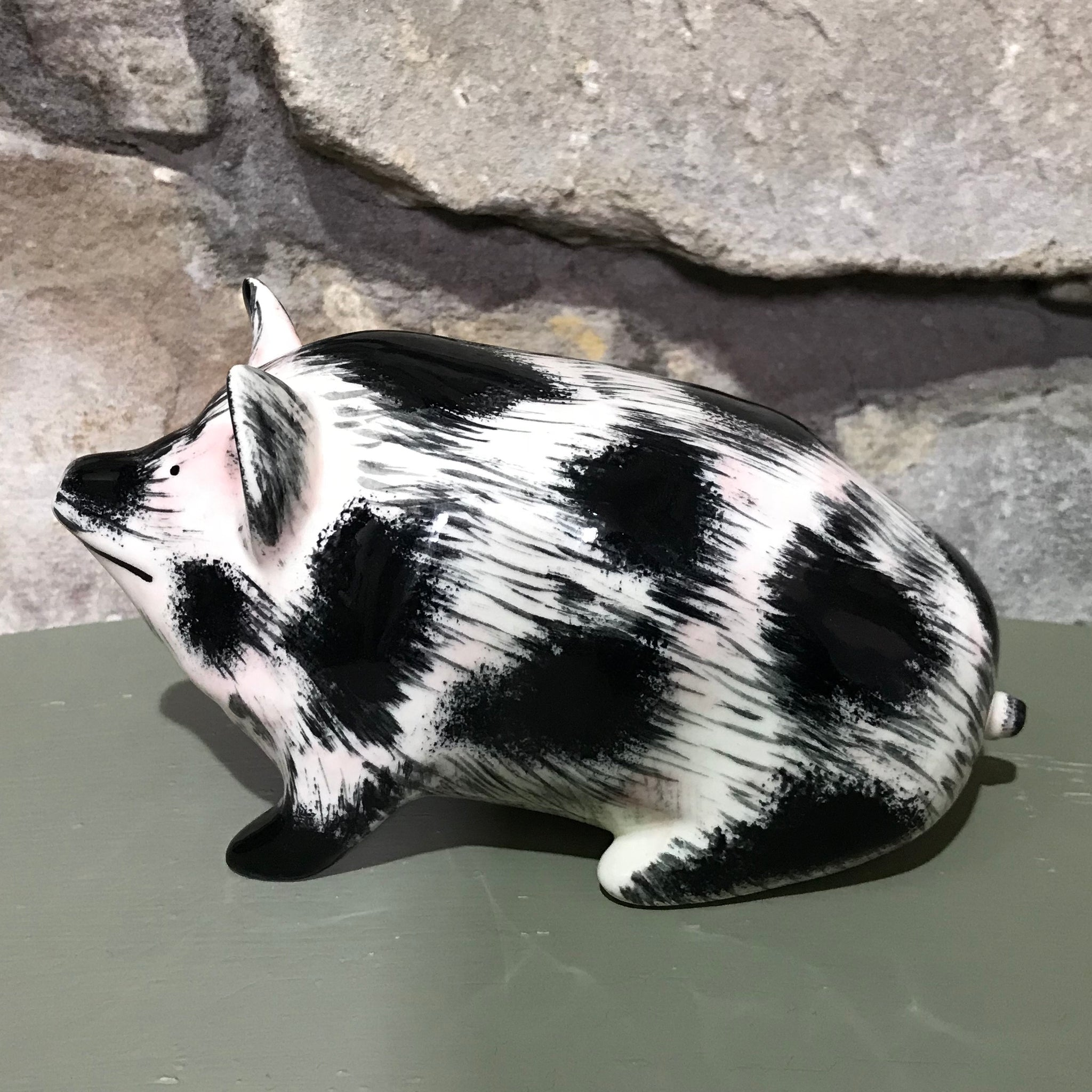 'Dirty' Black and White Small Pig