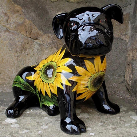 Sunflower Black Background Bulldog