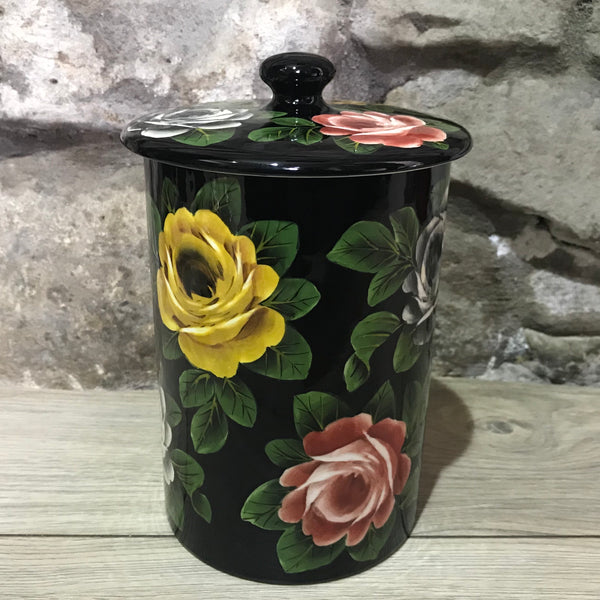 Cabbage Rose Black Large Jam Pot