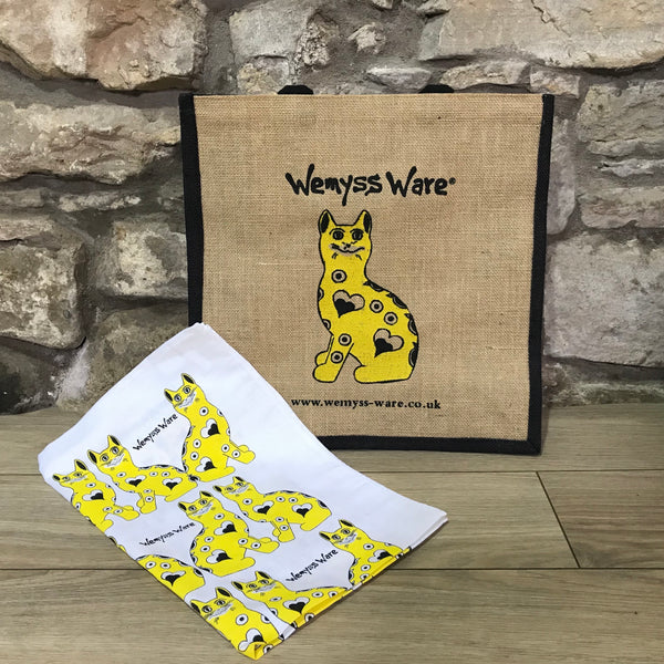 Yellow Gallé Cat Wemyss Ware Tea Towel