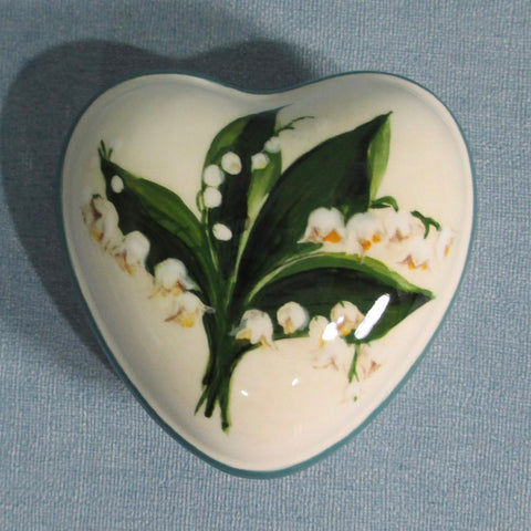 Lily of the Valley Small Heart Trinket Box