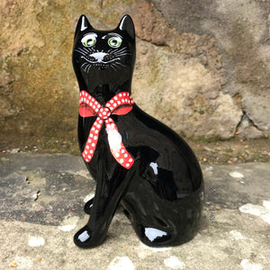 Black with Red Bow Small Cat