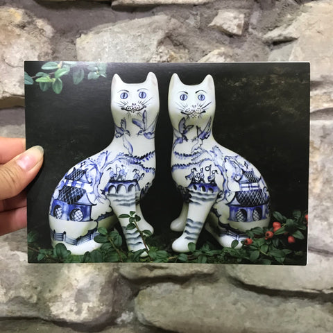 Willow Pattern Cats Card