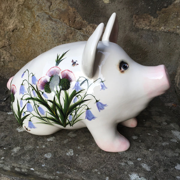 Thistle and Scottish Bluebell Medium Pig