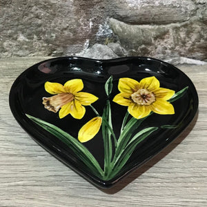Daffodil Black Background Heart Tray